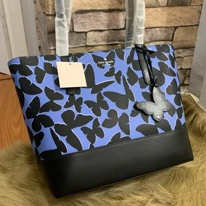 Authentic Kate Spade leather butterfly zip tote